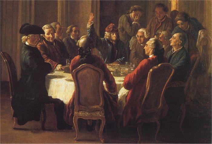 tableau représentant les Lumières autour d'une table en train de débattre d'idées